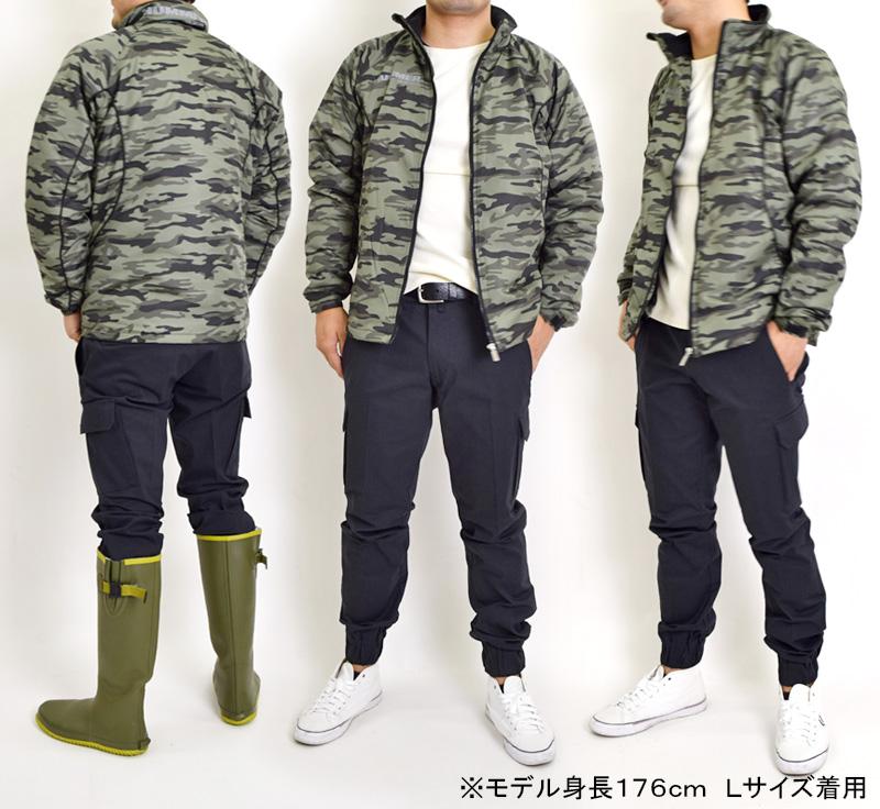 防寒ジャケットの迷彩グリーン着用イメージ
