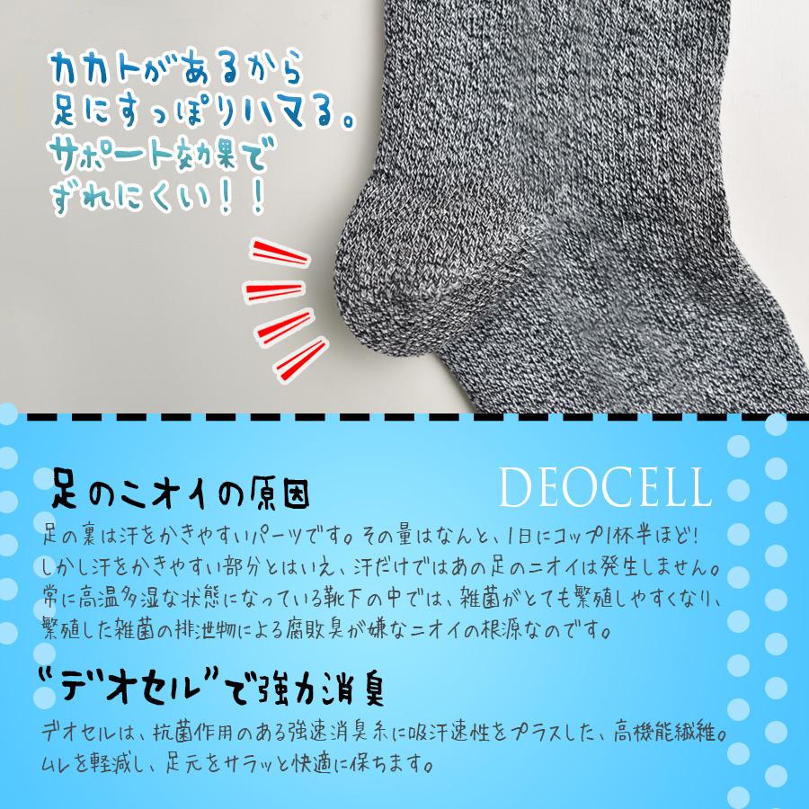 強力消臭のデオセルを使用した先丸靴下