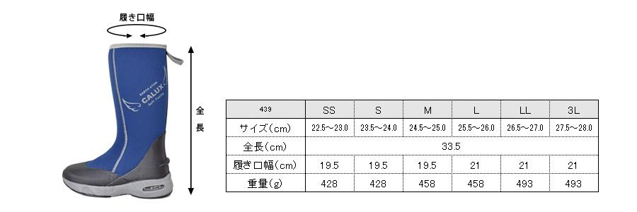 439サイズ表
