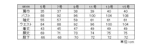 GE200サイズ表
