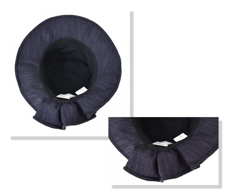 久留米絣帽子の内側切り替え文人柄