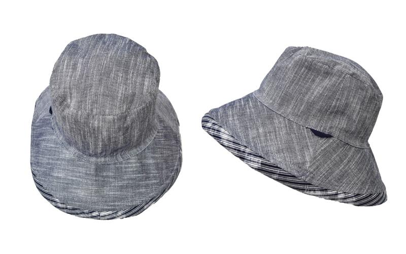 久留米絣 リバーシブル 帽子 グレー