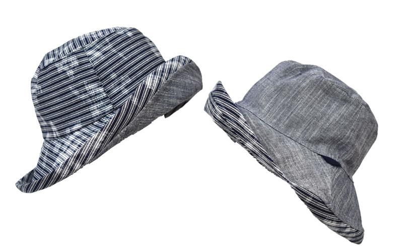 久留米絣 リバーシブル 帽子 グレー/国武織物