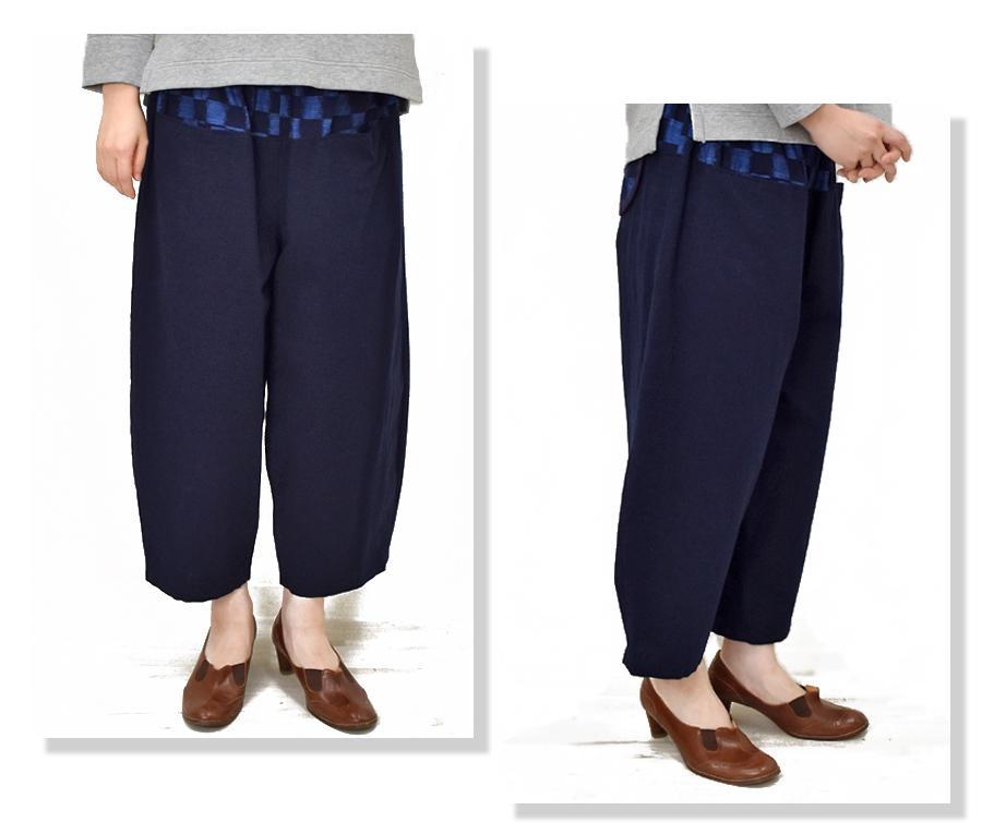 久留米絣 パンツ/ネイビー/国武織物/のらぎや