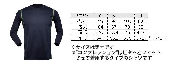 RC3902のサイズ表
