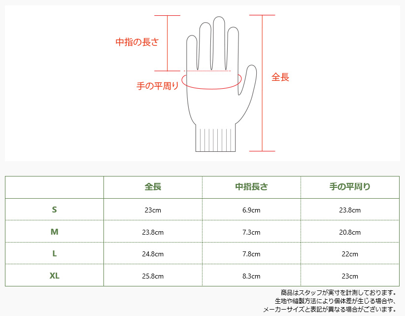 ユニワールド/手袋/防寒手袋/WG338/防水/のらぎや/サイズ表